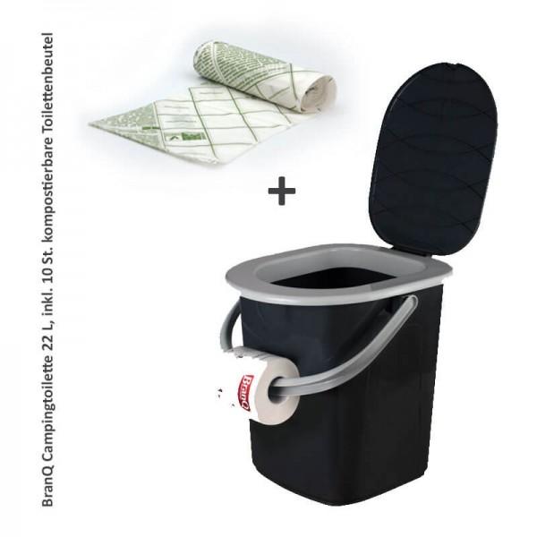 Campingtoilette, Toiletteneimer 22L +10 kompostierbare Toilettenbeutel